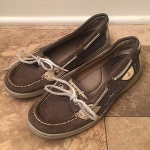 Sperry Top-Sider Leather Grey Sparkle Boat Loafers